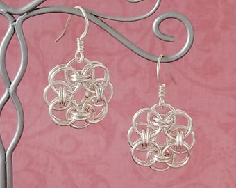 Silver-Plated Copper Celtic Helm Chainmaille Earrings