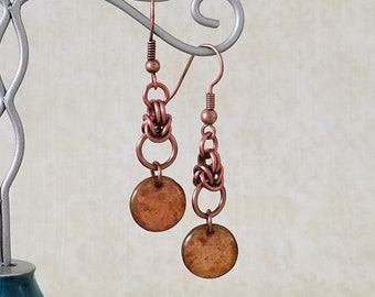 Antique Copper Enameled Copper and Czech Glass Byzantine Chainmaille Earrings