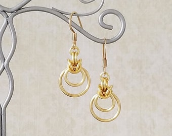 Satin Gold Enameled Copper Byzantine Ripple Chainmaille Earrings