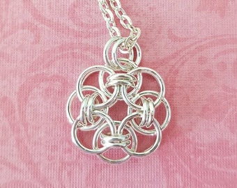 Silver-Plated Copper Celtic Helm Chainmaille Pendant