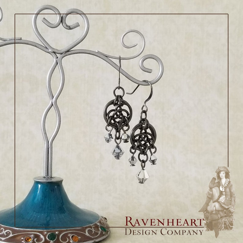 Gunmetal Enameled Copper Celtic Circles Chainmaille Chandelier image 0