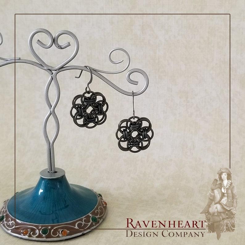 Gunmetal Enameled Copper Celtic Helm Chainmaille Earrings image 0