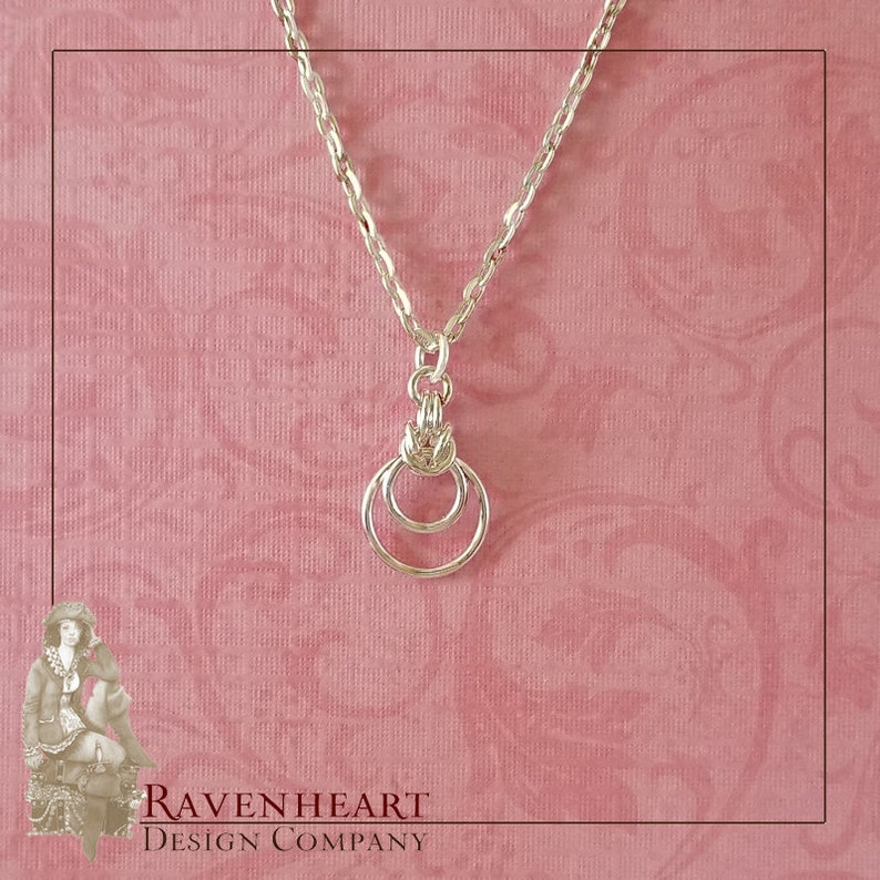 Silver-Plated Copper Byzantine Ripple Chainmaille Pendant image 0