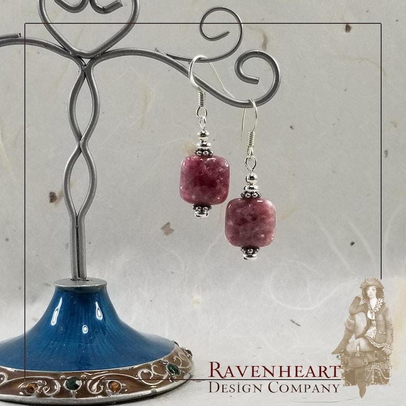 Pink Lepidolite & Silver Plate Drop Earrings image 0