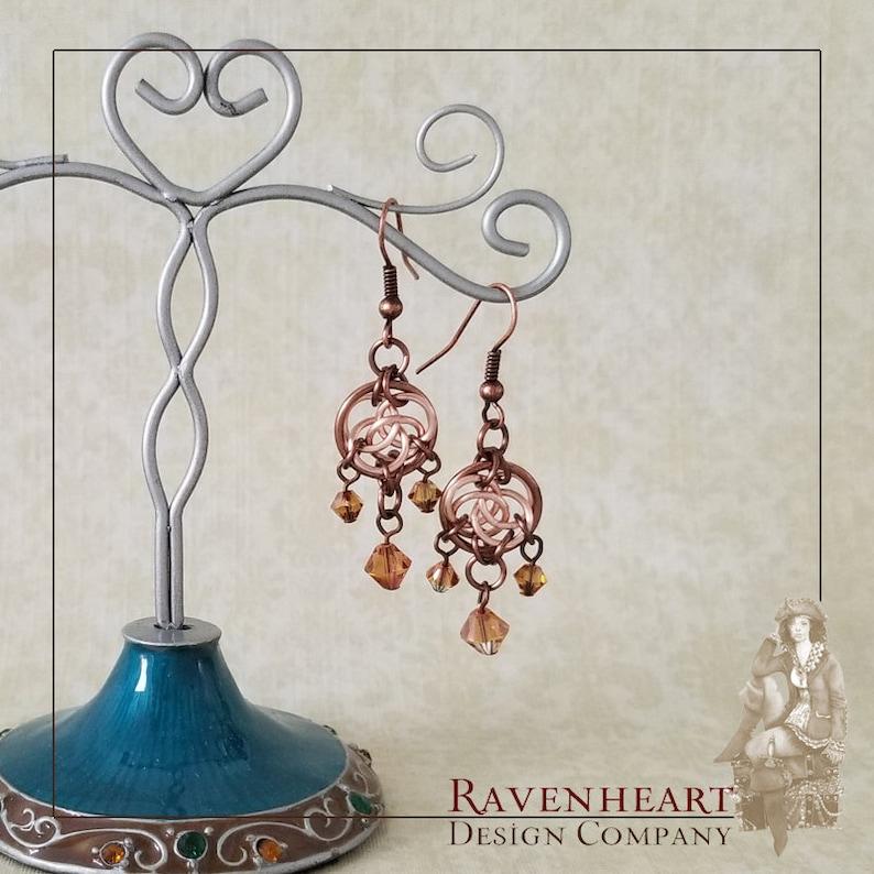 Antique Copper and Rose Gold Enameled Copper Celtic Circles image 0