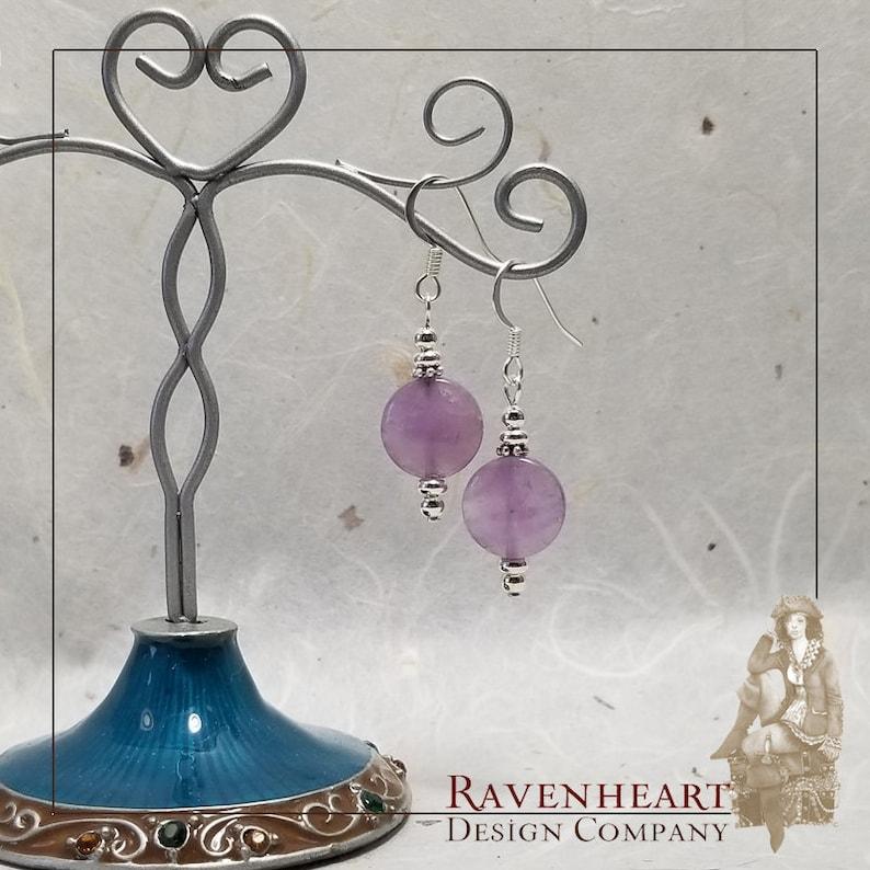 Amethyst & Silver Plate Drop Earrings image 0