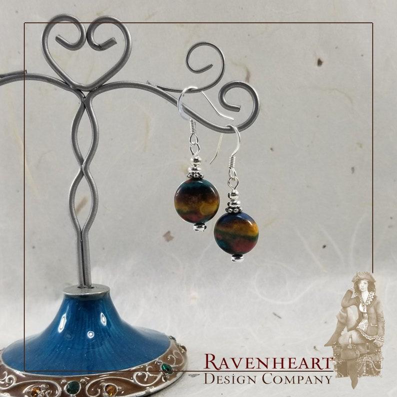 Rainbow Stone & Silver Plate Drop Earrings image 0