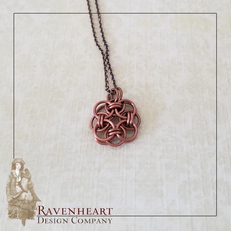 Antique Copper Enameled Copper Celtic Helm Chainmaille Pendant image 0