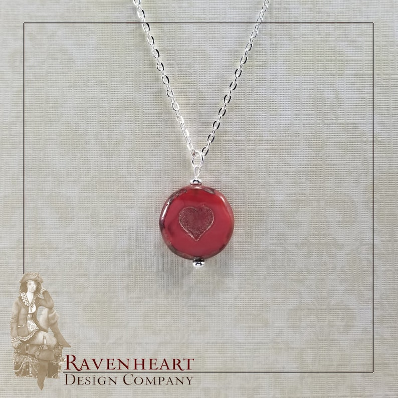 Czech Glass Heart and Silver Plate Pendant image 0