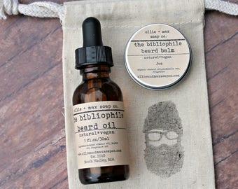 Bibliophile  Beard Grooming Kit, Beard Oil, Beard Balm, Gifts for Him, Vegan gifts, Natural Gifts,