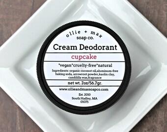 Natural Deodorant, Buttercream Cupcake Cream Deodorant, Vegan Deodorant