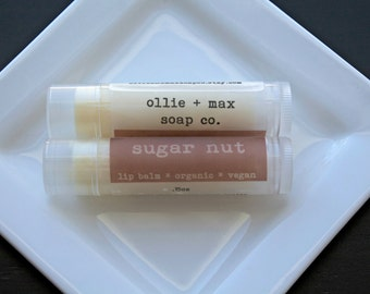 Vegan Lip Balm, Sugar Nut, Natural and Organic