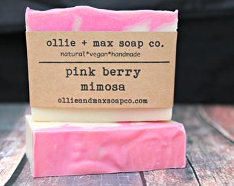Pink Berry Mimosa Soap, Vegan Cold Process Soap