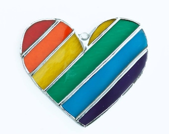 Rainbow Heart Stained Glass Suncatcher, Striped Pride Heart, Pride Rainbow, Rainbow Glass