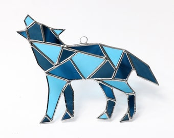 Blue Wolf Stained Glass Suncatcher, Howling Wolf, Geometric Art, Geometric Stained Glass, Stained Glass Wolf, Geometric Wolf