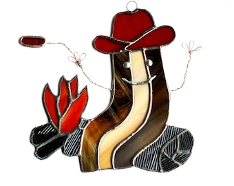 Bacon Cowboy Stained Glass Suncatcher, Funny Bacon, Cute Bacon, Bacon Stained Glass