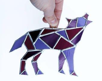 Wolf Stained Glass Suncatcher, Geometric Art, Geometric Stained Glass, Stained Glass Wolf, Geometric Wolf, Purple Wolf