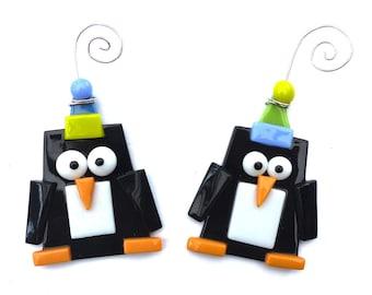 Penguin Christmas Ornament   Fused Glass Penguin Ornament   Nature Lover Christmas Gift