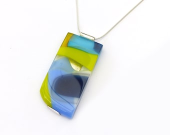 Fused Glass Statement Jewelry   Modern Necklace   Colourful   Unique Gift for Her