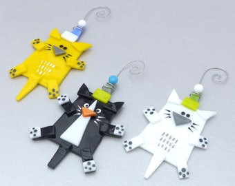Cat Christmas Ornaments   Fused Glass Cat Ornaments   Cat Lover Gift