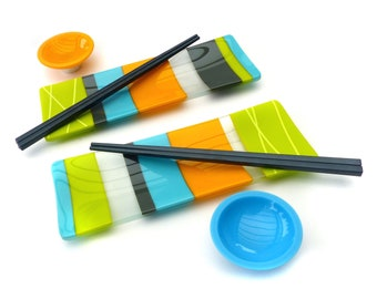Sushi Set for 2   Fused Glass   Art Glass   Colourful   Modern