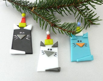 Cat Christmas Ornament   Fused Glass Cat Ornament   Cat Lover Christmas Gift