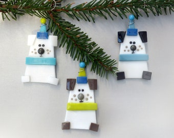 Dog Christmas Ornaments   Fused Glass Dog Ornaments   Dog Lover Gift