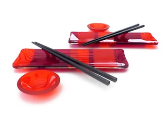 Sushi Set for 2   Fused Glass   Art Glass   Red   Modern