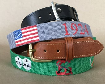 Needlepoint Belt Finishing - Real Leather and Brass 49777acc8f