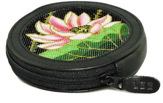 BAG14 Needlepoint DIY Canvas and Leather Change Purse Self Finishing Kit with Optional Thread