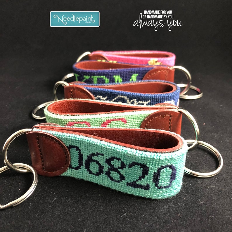 0cb9d8720de Leather Finishing for a Needlepoint Key Fob canvas Real