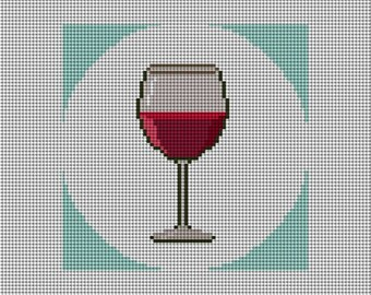 Red Wine Coaster or Christmas Ornament Needlepoint Canvas