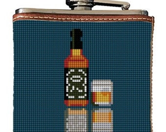 Whiskey Needlepoint Flask