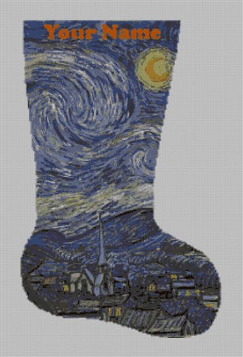 Needlepoint Christmas Stocking DIY Canvas Van Gogh/'s Starry Night