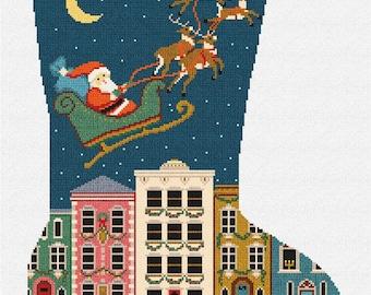 City Christmas Needlepoint Stocking DIY Kit