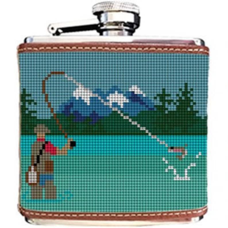 Fly Fishing Landscape Needlepoint Flask DIY Canvas