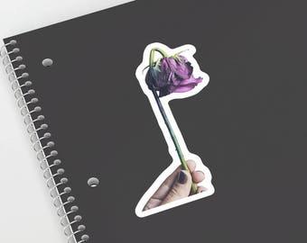 Purple Wilted Rose Photography Vinyl Sticker