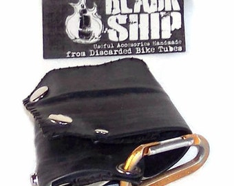 Black Vegan Biker Wallet: Bike Tube Faux Leather TriFold Snap Chain Bicycle Rubber Wallet Made to Order MTO