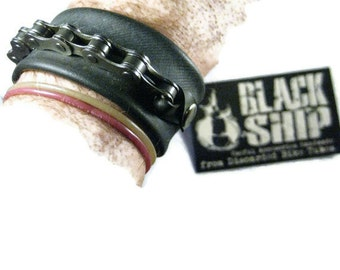 Black Bike Chain Snap Bracelet: Vegan Rubber Faux Leather Bike Tube Heavy Duty