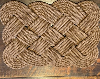 Cotton Bathmat with Khaki Gold Accent 29 x 14 Nautical Coastal Beach Rope Rug Off white