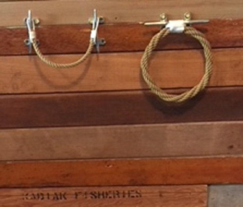 Navy Rope Towel Ring Holder Rack-Nautical Decor Beach Bathroom Fixture