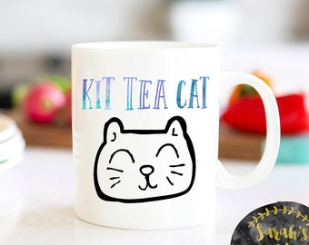 Kit Tea Cat Mug, Tea Lovers Mug, Gift for Tea Lover, Gift for Cat Lover, Cat Lover Gift, Cat Lover Mug, Tea Lover Mug, Cat Mug, tea Mug