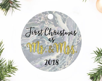 First Christmas Ornament, Wedding gift, Wedding Ornament, First Christmas as Mr and Mrs, Mr and Mrs ornament, First Christmas Married, Gift