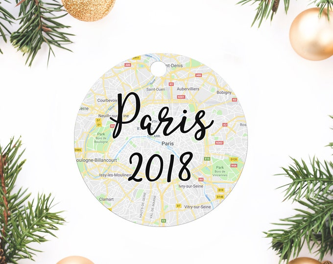 Featured listing image: Travel ornament, Christmas ornament, Personalized ornament, Custom ornament, personalized gift, gift for world traveler, engagement, Paris