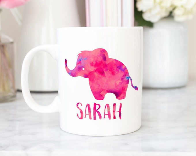 Featured listing image: Elephant mug, elephant monogram, name mug, elephant gift, gift for elephant lover, elephant decor, elephant coffee mug, watercolor elephant