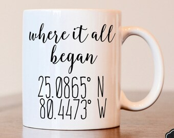 Where it all began, latitude longitude, where we met, longitude latitude, location coordinates, custom coordinates, coordinates, custom mug