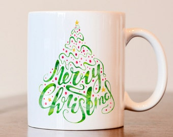 Merry Christmas Mug, Christmas Mug, Christmas Gift, Christmas Decor, Christmas Coffee Mug, Watercolor Mug, Christmas Tree Mug