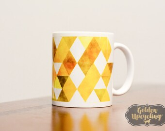Gold Mug, Geometric Pattern Mug, Abstract Mug, Coffee Mug Gift, Custom Coffee Mug, Sublimation Printed Mug, Rainbow Mug