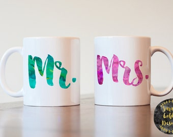 Mr and Mrs Mugs, Wedding Gift, Mr and Mrs Coffee Mugs, His and Hers Coffee Mugs, Couples Gift, Gift for Couple, Watercolor Mugs