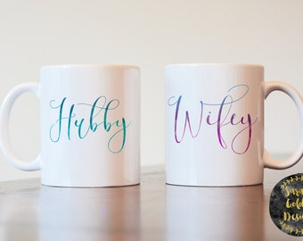 Hubby Wifey Mugs, Hubby Mug, Wifey Mugs, Hubby and Wifey Mugs, Hubby and Wifey Coffee Mugs, Couple Coffee Mugs, Couples Mugs, His and Hers
